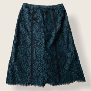 Marciano Lace Pencil Skirt - Teal & Black - Sz Med